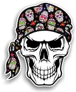 GOTHIC BIKER Pirate SKULL HEAD BANDANA & Sugar Skull Pattern Vinyl Car Sticker 100x121mm