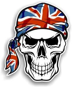 GOTHIC BIKER Pirate SKULL HEAD BANDANA & Union Jack British Flag Vinyl Car Sticker 100x121mm