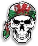 GOTHIC BIKER Pirate SKULL HEAD BANDANA Welsh Wales CYMRU Flag Vinyl Car Sticker 100x121mm