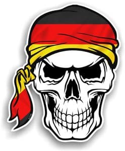 GOTHIC BIKER Pirate SKULL HEAD BANDANA With Germany German Flag  Motif Vinyl Car Sticker 100x121mm