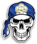 GOTHIC BIKER Pirate SKULL HEAD BANDANA Yorkshire Rose York Flag Vinyl Car Sticker 100x121mm