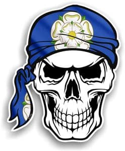 GOTHIC BIKER Pirate SKULL HEAD BANDANA Yorkshire Rose York Flag Vinyl Car Sticker 100x121mm