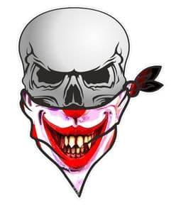 GOTHIC BIKER Pirate SKULL With Face Bandana & Creepy Smiler Horror Clown Motif External Vinyl Car Sticker 110x75mm