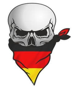 GOTHIC BIKER Pirate SKULL With Face Bandana & Germany German Flag Motif External Vinyl Car Sticker 110x75mm