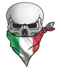 GOTHIC BIKER Pirate SKULL With Face Bandana & Italy Italian il Tricolore Flag Motif External Vinyl Car Sticker 110x75mm