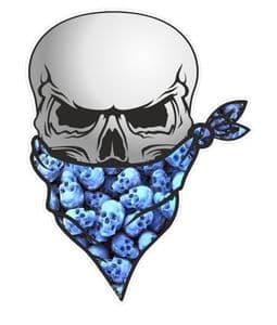 GOTHIC BIKER Pirate SKULL With Face Bandana & Pile Of Blue Skulls Motif External Vinyl Car Sticker 110x75mm