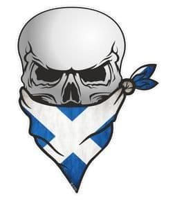 GOTHIC BIKER Pirate SKULL With Face Bandana & Scotland Scottish Saltire Flag Motif External Vinyl Car Sticker 110x75mm