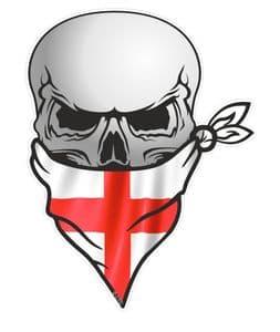 GOTHIC BIKER Pirate SKULL With Face Bandana & St Georges Cross England Flag Motif External Vinyl Car Sticker 110x75mm