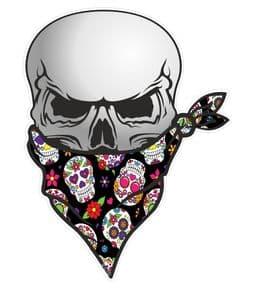 GOTHIC BIKER Pirate SKULL With Face Bandana & Sugar Skull Pattern Motif External Vinyl Car Sticker 110x75mm