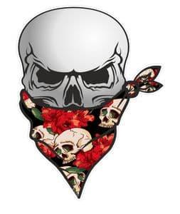GOTHIC BIKER Pirate SKULL With Face Bandana & Tattoo Style Skull & Roses Motif External Vinyl Car Sticker 110x75mm