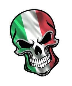 GOTHIC BIKER SKULL Italy Italian il Tricolore Flag With Motif External Vinyl Car Sticker 110x75mm