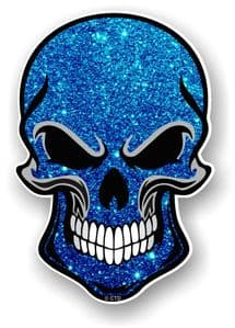 GOTHIC BIKER SKULL With Blue Glitter Sparkle Effect External Vinyl Car Sticker Decal 110x75mm