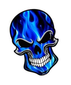 GOTHIC BIKER SKULL With Electric Blue Flames Fire Motif External Vinyl Car Sticker 110x75mm