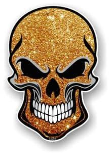 GOTHIC BIKER SKULL With Gold Glitter Sparkle Effect External Vinyl Car Sticker Decal 110x75mm