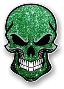 GOTHIC BIKER SKULL With Green Glitter Sparkle Effect External Vinyl Car Sticker Decal 110x75mm