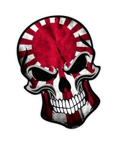 GOTHIC BIKER SKULL With Japanese JDM Style Rising Sun Flag Motif External Vinyl Car Sticker 110x75mm