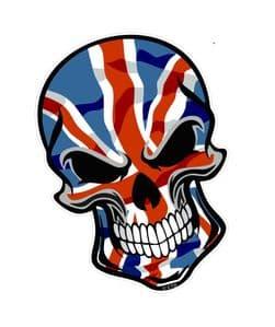 GOTHIC BIKER SKULL With Union Jack British Flag Motif External Vinyl Car Sticker 110x75mm