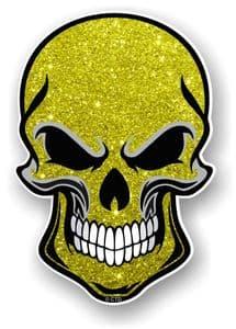 GOTHIC BIKER SKULL With Yellow Glitter Sparkle Effect External Vinyl Car Sticker Decal 110x75mm