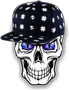 GOTHIC Hip Hop SKULL With BLUE Evil Eyes and Rapper Cap Motif External Vinyl Car Sticker 100x78mm