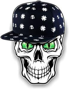 GOTHIC Hip Hop SKULL With GREEN Evil Eyes and Rapper Cap Motif External Vinyl Car Sticker 100x78mm