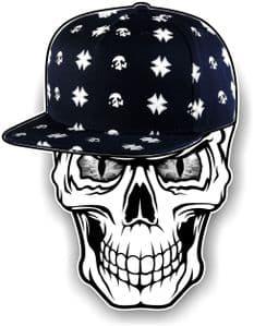 GOTHIC Hip Hop SKULL With GREY Evil Eyes and Rapper Cap Motif External Vinyl Car Sticker 100x78mm