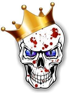 GOTHIC King of SKULL Skulls With BLUE Evil Eyes and Crown Blood Splatter Motif External Vinyl Car Sticker 115x85mm