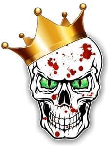 GOTHIC King of SKULL Skulls With GREEN Evil Eyes and Crown Blood Splatter Motif External Vinyl Car Sticker 115x85mm
