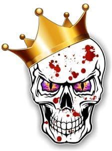 GOTHIC King of SKULL Skulls With PURPLE Evil Eyes and Crown Blood Splatter Motif External Vinyl Car Sticker 115x85mm