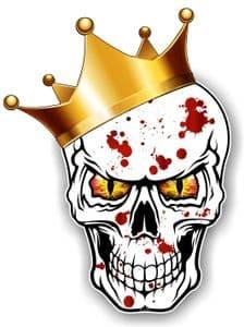 GOTHIC King of SKULL Skulls With RED & YELLOW Evil Eyes and Crown Blood Splatter Motif External Vinyl Car Sticker 115x85mm