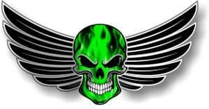 GOTHIC SKULL With Wings Motif  &  Green Flames External Vinyl Car Sticker 150x80mm
