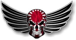 GOTHIC SKULL With Wings Motif  &  Japanese Rising Sun Flag External Vinyl Car Sticker 150x80mm