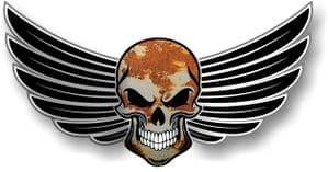 GOTHIC SKULL With Wings Motif  & Rusty Metal Rust Patina External Vinyl Car Sticker 150x80mm