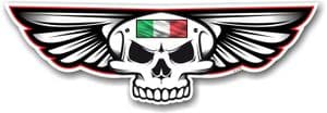 Gothic Skull With Wings With Italy Italian Flag Retro Biker Vinyl Car Sticker Decal 125x40mm