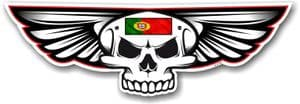 Gothic Skull With Wings With Portugal Portuguese Flag Retro Biker Vinyl Car Sticker Decal 125x40mm