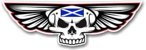 Gothic Skull With Wings With Scotland Scottish Saltire Flag Retro Biker Vinyl Car Sticker 125x40mm