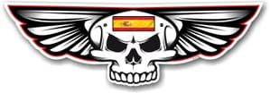 Gothic Skull With Wings With Spain Spanish Flag Retro Biker Vinyl Car Sticker Decal 125x40mm