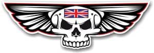 Gothic Skull With Wings With Union Jack British Flag Retro Biker Vinyl Car Sticker Decal 125x40mm