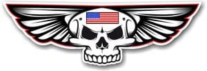 Gothic Skull With Wings With US American Flag Retro Biker Vinyl Car Sticker Decal 125x40mm