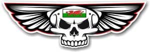 Gothic Skull With Wings With Wales Welsh CYMRU Flag Retro Biker Vinyl Car Sticker Decal 125x40mm