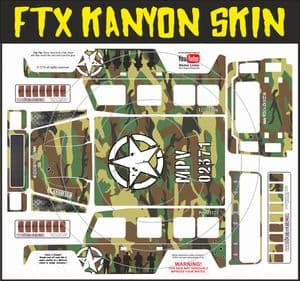 Green Army Camo Camouflage themed vinyl SKIN Kit & Stickers To Fit R/C FTX Kanyon Rock Crawler