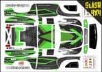 Green Carbon GT themed vinyl SKIN Kit To Fit Traxxas Slash 4x4 Short Course Truck