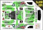 GREEN Sharks Teeth themed vinyl SKIN Kit To Fit Traxxas Slash 4x4 Short Course Truck