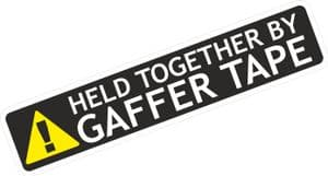 HELD TOGETHER BY GAFFER TAPE Funny Design For Rat Look VW Vinyl Car sticker decal 178x39mm
