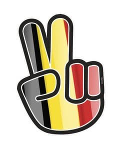 Hippy Style PEACE Hand With Belgium Country Flag Motif External Vinyl Car Sticker 90x65mm