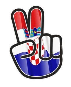Hippy Style PEACE Hand With Croatia Croatian Country Flag Motif External Vinyl Car Sticker 90x65mm