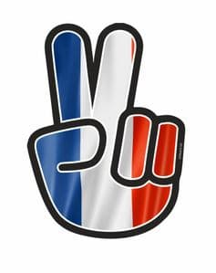 Hippy Style PEACE Hand With France French Flag Tricolore Motif External Vinyl Car Sticker 90x65mm