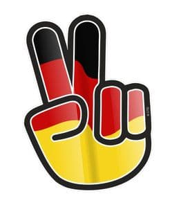 Hippy Style PEACE Hand With German Germany Country Flag Motif External Vinyl Car Sticker 90x65mm