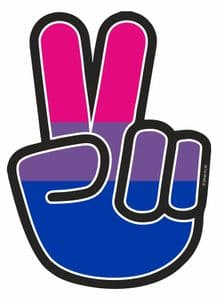 Hippy Style PEACE Hand With LGBT Bisexual Pride Flag Motif External Vinyl Car Sticker 90x65mm