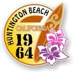 Huntington Beach 1964 Surfer Surfing Design Vinyl Car sticker decal  95x98mm