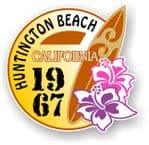 Huntington Beach 1967 Surfer Surfing Design Vinyl Car sticker decal  95x98mm